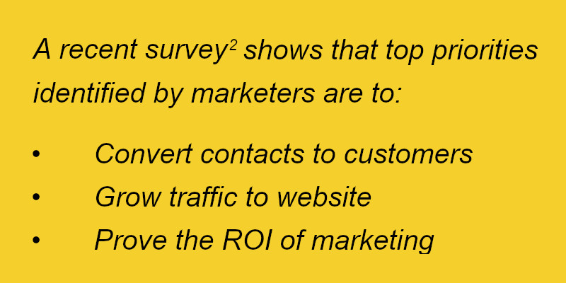Marketer priorities: customer conversion, website traffic, ROI
